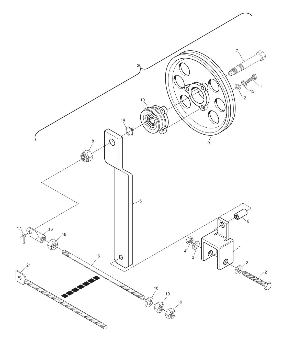 Elevator Belt Tensioner Assembly Short Pit Machines Series 43 And Above Diagram